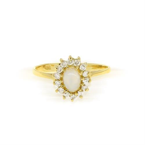 """טבעת זהב 14 קרט דגם """"דיאנה"""" משובצת אופל ויהלומים 0.18 קראט"""