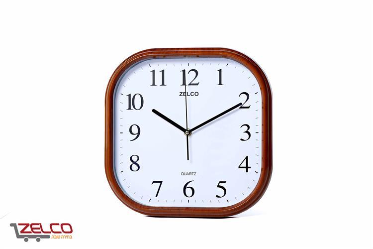 שעון קיר דמוי עץ מרובע צבע קוניאק