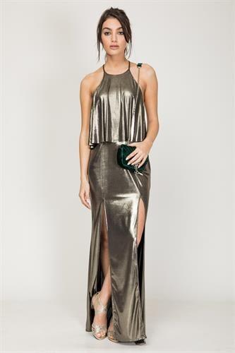 שמלת פלטיניום זהב מבריק