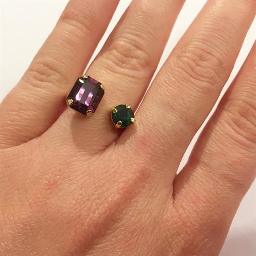 טבעת סנדי סגול ירוק