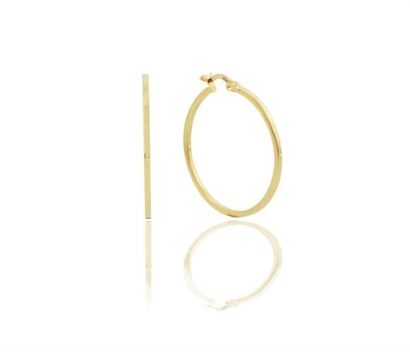 עגילי חישוק חלקים בגודל בינוני זהב צהוב 14 קראט