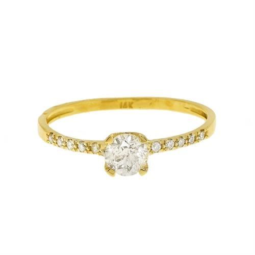 טבעת יהלומים 0.70 קראט בזהב 14 קרט | תעודה גמולוגית IGL