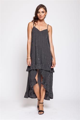 שמלת מנדרין שחורה פסים דק