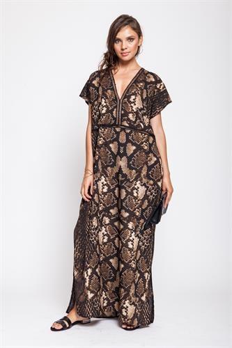שמלת ריזורט מנומר חום