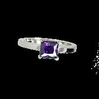 טבעת בנות זהב לבן 14K אמטיסט מרכזי OP08160049634