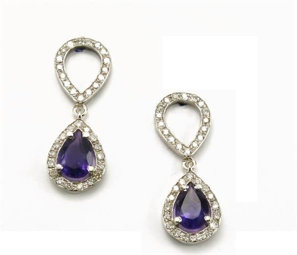 עגילי יהלומים ואבני חן מעוצבים נתלים צמודים לאוזן בזהב 14K | אמטיסט סגולה