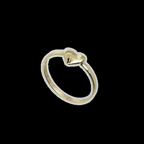 טבעת ילדות זהב צהוב 14K לב משובץ OP11140013512