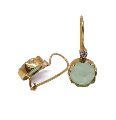 עגילי זהב 14K משובץ אבן חן גרין קוורץ