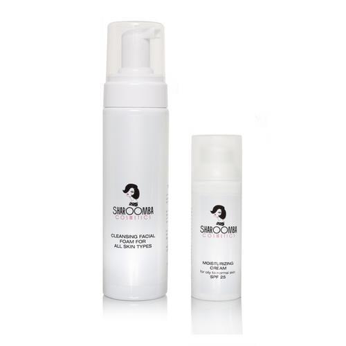 קצף ניקוי וקרם לחות והגנה SPF25 לעור רגיל עד שמן, מארז זוגי