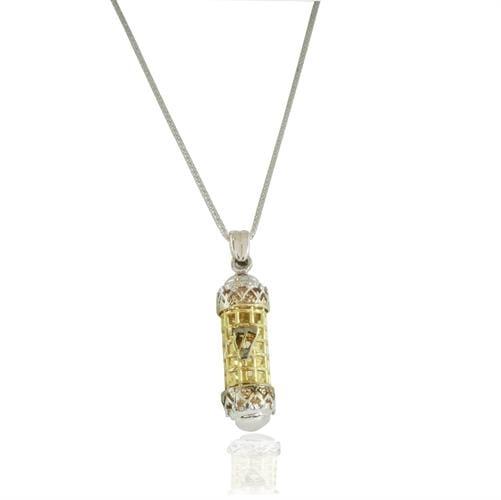 שרשרת ותליון זהב לבן משולב צהוב 14 קרט בעיצוב מזוזה