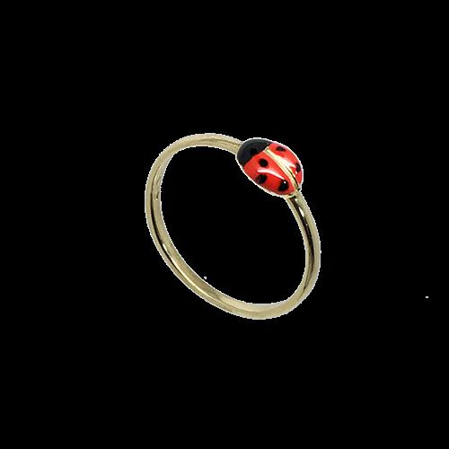 טבעת ילדות חיפושית זהב צהוב 14K אמייל אדום שחור OP02150020602