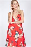 שמלת קלי אדום פרחוני