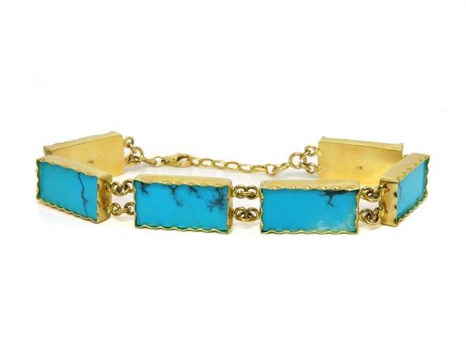 צמיד זהב מעוצב בעבודת יד בשיבוץ אבני טורקיז