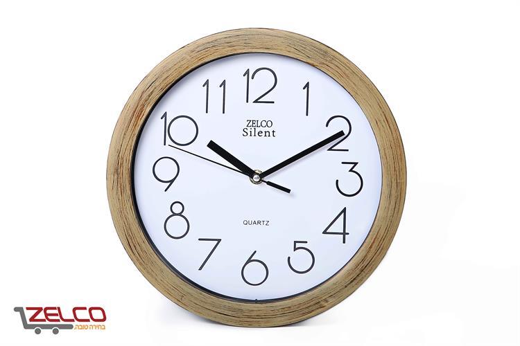 שעון קיר דמוי עץ צבע עץ מושחר