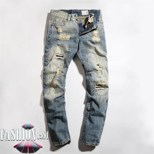 ג'ינס מעוצב קרעים דגם פול (צבע כחול)