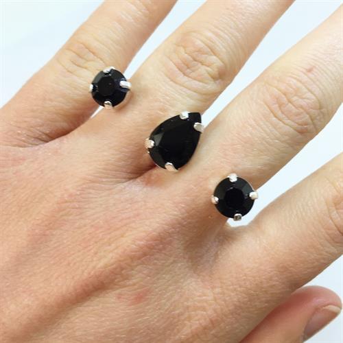 טבעת כפולה טיפה כסף
