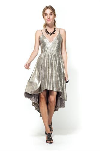 שמלת ליאה זהב טקסטורה