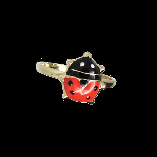 טבעת ילדות חיפושית זהב צהוב 14K אמייל אדום שחור OP06130030637