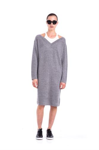 GREY MERINO PULLOVER DRESS