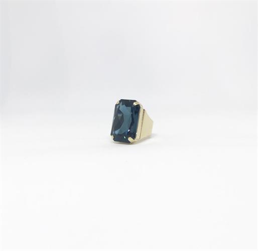 טבעת איריס כחול רויאל זהב