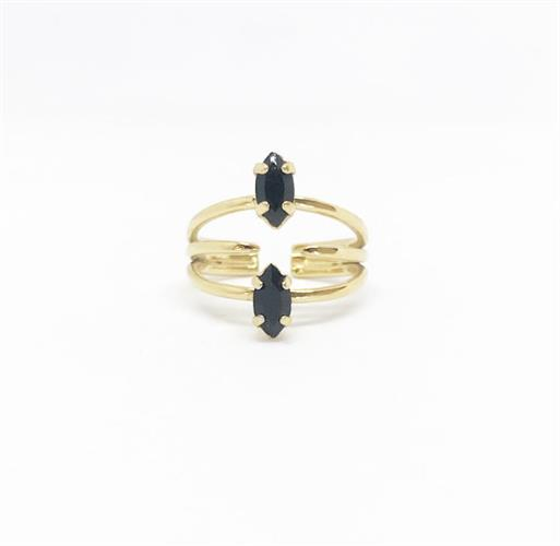 טבעת נינה שחור זהב