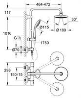 ברז אמבטיה טרמוסטטי משולב מוט פינוק GROHE סדרת אופוריה דגם 27296001