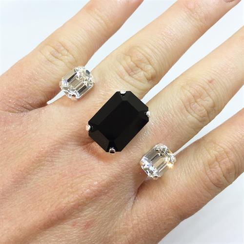 טבעת כפולה מרובע כסף