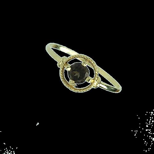 טבעת ילדות זהב צהוב 14K אבן חן חומה OP12130012730