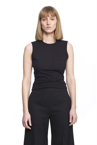 COTTON OPEN BACK BLACK TEE