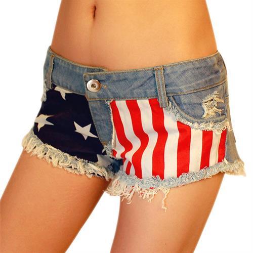 שורט ג'ינס נשים דגם U.S.A
