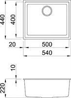 כיור מטבח קוואדרה 105 קראטק ללא פנל