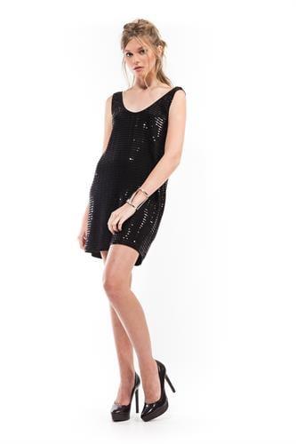 שמלת טינה שחורה פייטים