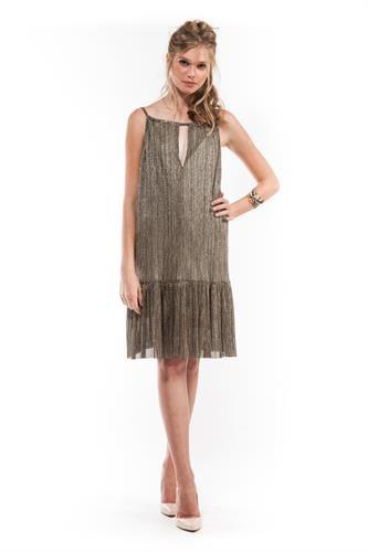 שמלת הלנה אפור זהב