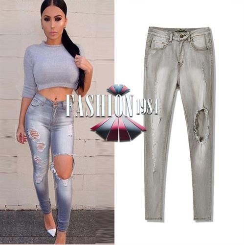 ג'ינס מעוצב דגם ג'יין קלי (צבע אפור)