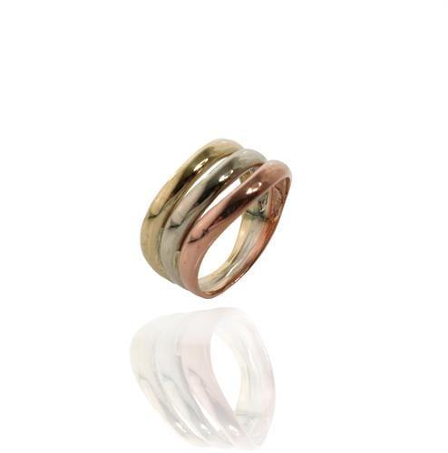 טבעת זהב שלושה צבעים I זהב 3 צבעים I טבעת זהב טריקולור
