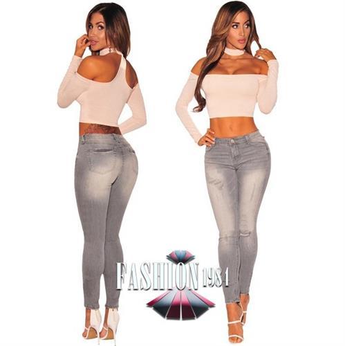 ג'ינס סקיני מעוצב דגם מייגן סקרלט (צבע אפור)
