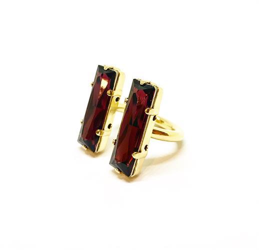 טבעת מלבנים יין זהב