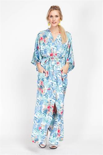 שמלת קימונו תכלת פרחוני