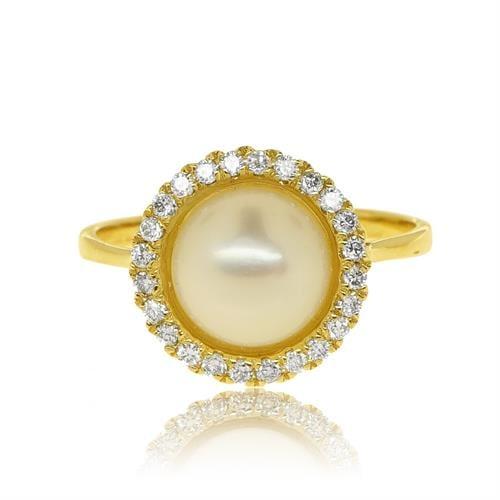 טבעת זהב 14 קרט מעוצבת משובצת פנינה ויהלומים 0.25 קראט