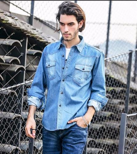 חולצת ג'ינס מכותרת דגם אדריאן (כחול בהיר)