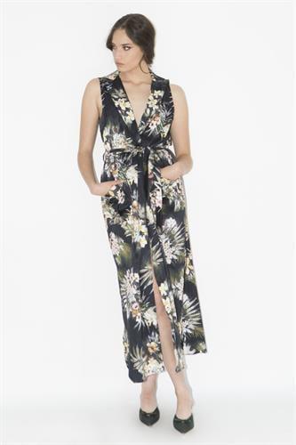 שמלת נבדה שחור פרינט