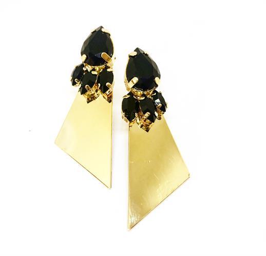 עגילי סטלה שחור זהב