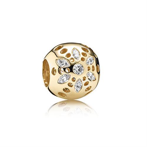 צ'ארם פריחה נוצצת זהב 14 קארט וזרקונים 750826CZ