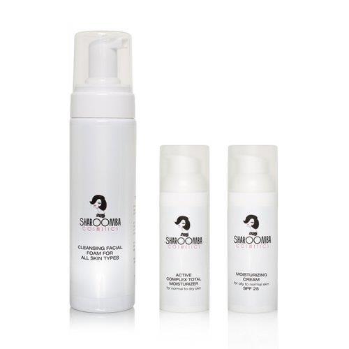 קצף ולחות SPF25 לעור רגיל עד שמן+ לחות אקטיבית ללילה, מארז שלישייה