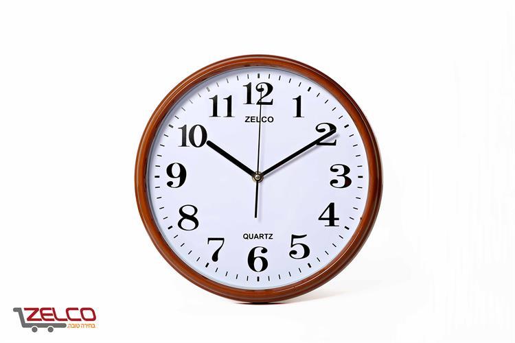 שעון קיר דמוי עץ עגול צבע קוניאק