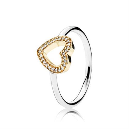 טבעת כסף וזהב פנדורה 190925CZ
