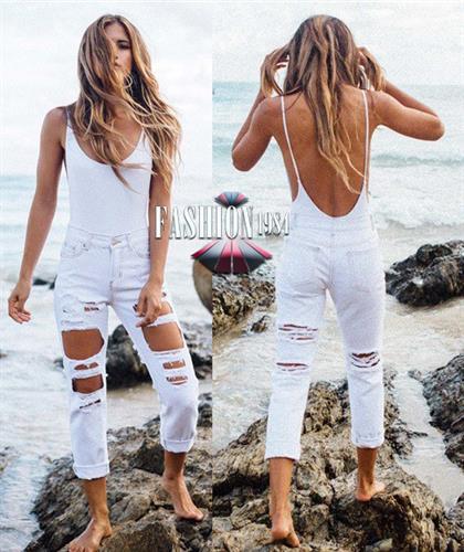 ג'ינס מעוצב קרעים דגם מישל קייל (צבע לבן)