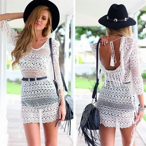 שמלת חוף דגם לורן (צבע לבן)