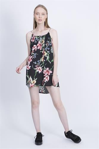 שמלת איב פרחוני שחור