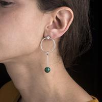 Single Malachite Sinker Earring